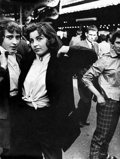 Roger Mayne ,   Teddy Girls, Battersea Fun Fair  ,  1956     Vintage gelatin silver print ,  18 3/4 x 14 3/16 in. (47.6 x 36 cm)     2936     Sold