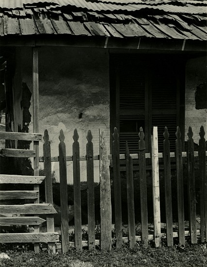Alma Lavenson ,   Deserted Shack, Hornitos  ,  1940-41     Vintage gelatin silver print ,  9 5/8 x 7 1/2 in. (24.4 x 19.1 cm)     (Also titled Adobe House with Picket Fence)     5171