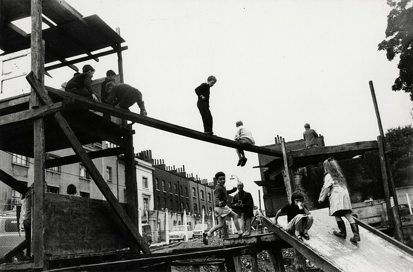 Roger Mayne ,   Adventure Playground, Islington, London  ,  c. 1957     Vintage gelatin silver print ,  6 15/16 x 10 9/16 in. (17.6 x 26.8 cm)     6494