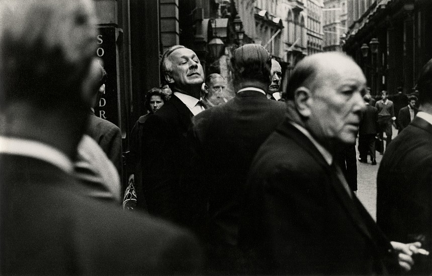 Roger Mayne ,   Throgmorton Street, London  ,  1960     Vintage gelatin silver print ,  7 1/4 x 11 1/4 in. (18.4 x 28.6 cm)     6515     Sold