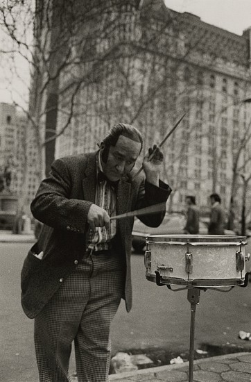 Richard Gordon ,   New York City  ,  1977     Vintage gelatin silver print ,  8 15/16 x 5 15/16 in. (22.7 x 15.1 cm)     Gene Palma - Street Musician from Taxi Driver 1976     7102