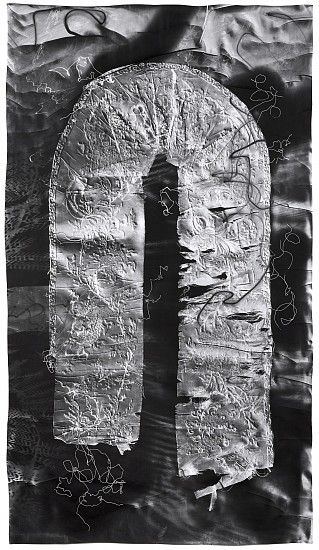 Klea McKenna ,   Imperfect Offering (2)  ,  2018     Gelatin silver print; unique photogram with impression ,  71 x 40 in. (180.3 x 101.6 cm)     Impression of fragment of silk tapestry embroidered with gold-wrapped thread. China, 1890s.