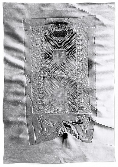 Klea McKenna ,   Your Eyes Aren't Eyes. They're Bees (1)  ,  2018     Gelatin silver print; unique photogram with impression ,  41 1/4 x 28 3/4 in. (104.8 x 73 cm)     Impression of a hand embroidered burqa face veil. Afghanistan, circa 1970s.     7706     $8,000