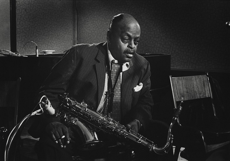 Jan Persson ,   Ben Webster, Denmark  ,  1973     Gelatin silver print; printed later ,  12 x 18 in. (30.5 x 45.7 cm)     A moving, late portrait of Ben Webster (1909-1973), tenor saxophonist, considered one of the three most important